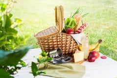 野餐Wattled篮子设置食物饮料夏天 库存图片