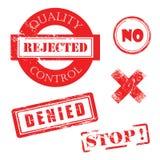 质量管理,被拒绝,不, X,被否认,中止困厄的红色邮票 免版税库存照片