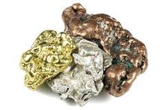 金、银和铜矿块 免版税库存照片