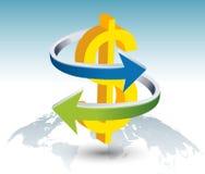 金与箭头的美元的符号 免版税图库摄影