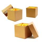 金与黄色布料的箱子线 免版税图库摄影