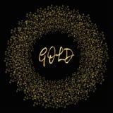 金五彩纸屑框架  在黑背景的金黄圈子 库存照片