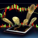 金位从片剂的硬币猛冲 赢利的概念 免版税库存图片