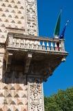 金刚石一点红・费拉拉意大利宫殿romagna 库存照片