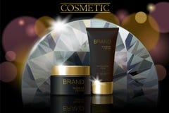 黑金刚石化妆广告设计模板 黑暗的金黄护肤包裹chrystal管玻璃反射 紫色模糊的defocuced b 向量例证