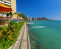 金刚石华美的夏威夷顶头视图waikiki 免版税库存照片