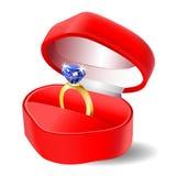 金刚石在箱子传染媒介象的定婚戒指 库存图片