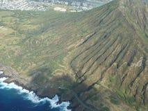 金刚石头火山口夏威夷鸟瞰图  免版税图库摄影