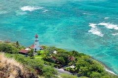 金刚石有天蓝色的海洋的头灯塔鸟瞰图backg的 免版税图库摄影