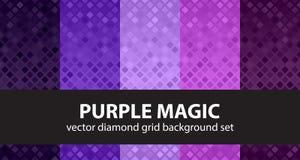 金刚石样式集合紫色魔术 背景无缝的向量 免版税库存图片