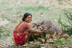 金刚石港口,印度- 2013年4月01日:有大微笑的毛孔农村印地安妇女在红黄色莎丽服收集落的叶子 库存照片