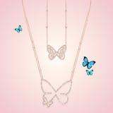 金刚石金与蝴蝶的首饰项链 免版税库存照片