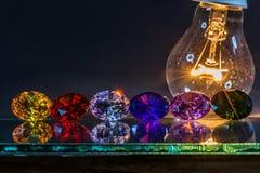 金刚石闪闪发光从灯的 免版税库存图片