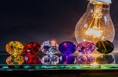 金刚石闪闪发光从灯的 免版税图库摄影