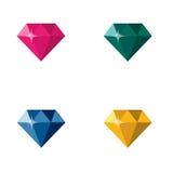 金刚石首饰宝石五颜六色的多角形商标传染媒介 库存照片