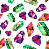 金刚石水晶的水彩例证-无缝的样式 纺织品的,织品,墙纸印刷品 手工制造绘画 皇族释放例证