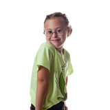 戴金发佩带的眼镜的胸口画象白女孩 库存图片
