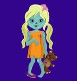 金发拿着玩具熊的蛇神女孩 免版税库存图片