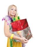 金发碧眼的女人上色了少量礼品女孩 图库摄影