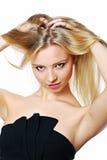 金发碧眼的女人的纵向。 库存照片