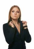 金发碧眼的女人的纵向 免版税库存照片