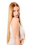 金发 美丽的头发长的平直的妇女 免版税库存图片