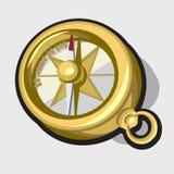 金古色古香的指南针,传染媒介例证 图库摄影