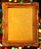 金古色古香的框架,抽象bokeh背景 免版税图库摄影
