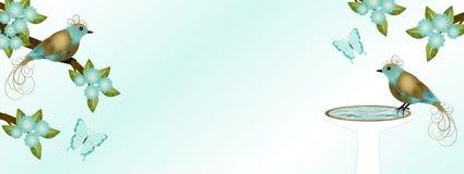 金和小野鸭鸟横幅 免版税图库摄影