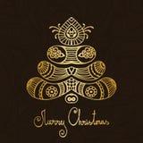 金和褐色佩兹利圣诞快乐树 库存照片