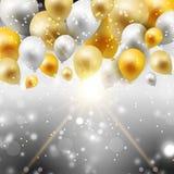金和银气球背景 免版税图库摄影