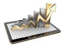 金图表和图在片剂个人计算机-经济情况统计概念 免版税库存照片