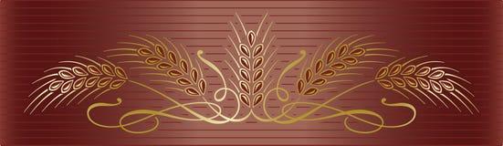 金在典雅的棕色背景的麦子耳朵 免版税库存照片