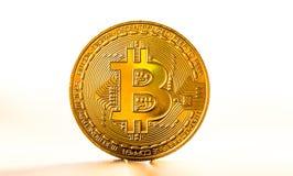 金在白色背景安置的bitcoin硬币根据日落 真正货币符号 免版税图库摄影