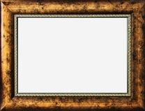 金在白色背景的照片框架 库存照片
