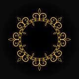 金在黑背景的葡萄酒框架 您的设计的线艺术组合图案 库存例证