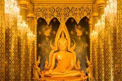 金在Wat Phra Sri拉塔纳Mahathat & x28的菩萨雕象; Wat Yai& x29; 免版税库存图片