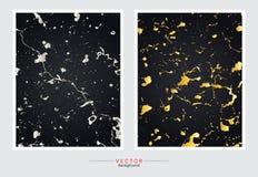 金大理石盖子背景,传染媒介集合模板 库存例证