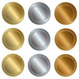 金子、银和古铜封印或者奖牌 免版税库存照片