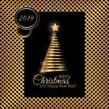 金子与新年树和2019数字的圣诞快乐卡片 库存例证