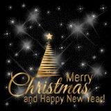 金子与新年树的圣诞快乐在黑点燃的背景的卡片和星 向量例证