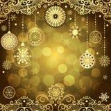 金子与葡萄酒金树球的圣诞节框架 免版税库存图片