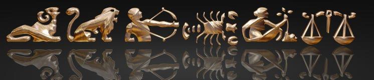 金子占星金属黄道带 库存例证