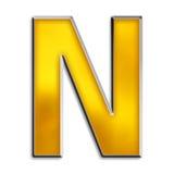 金子发光查出的字母N 库存照片