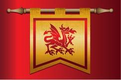 与龙象征的中世纪旗子