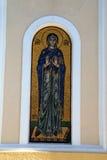 金子和圣徒蓝色马赛克在希腊海岛上的 免版税库存图片