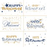 金子和愉快的退休蓝色印刷术设计发短信 向量例证