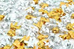金子和银手工制造丝带鱼 免版税库存照片