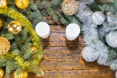 金子和银主题的圣诞节 图库摄影