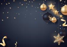 金子和黑圣诞节球与金星和大金黄雪花 库存照片